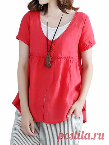 Sweet Short Sleeve Fake Two Pieces Pure Color T-shirts - US$23.99
