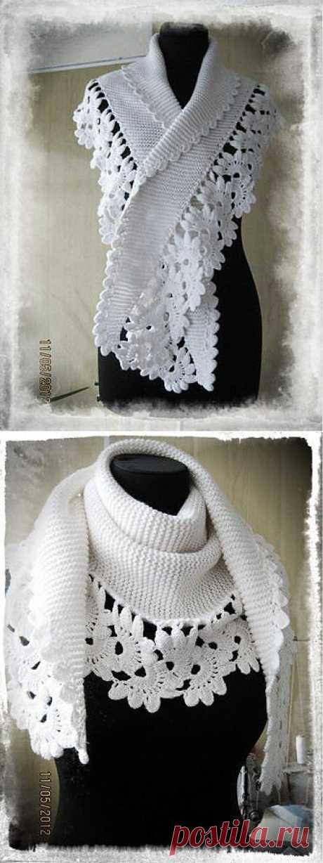 Вязаный шарф- бактус.