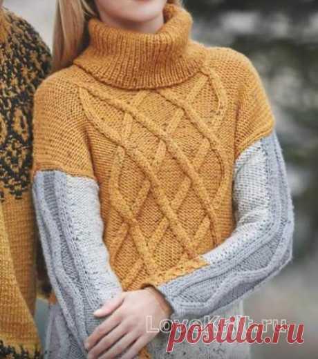 Цветной пуловер с рельефным узором схема спицами