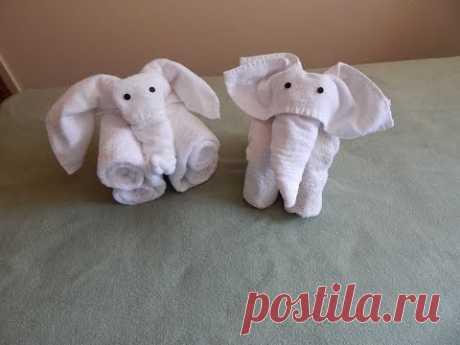 How to fold towels into an elephant; Towel folding elephant; Towel origami; Towel art; Towel animal; - YouTube