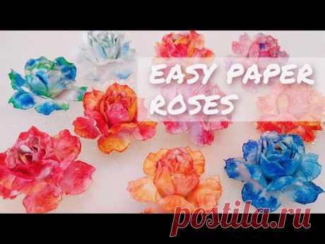 Как сделать реалистичные розы из бумаги. Простые розы, которые сможет сделать каждый новичок. Никаких специальных инструментов не требуется, только легкодоступные материалы. Материалы: - акварельная бумага; - акварельные краски; - клей; - палочки (карандаши, кисти, крючки для вязания) с округлым наконечником нужного вам диаметра. Розы для декора дома, цветы для декора комнаты. Цветы для скрапбукинга, бумажные розы для открыток, бумажные цветы для букетов.
