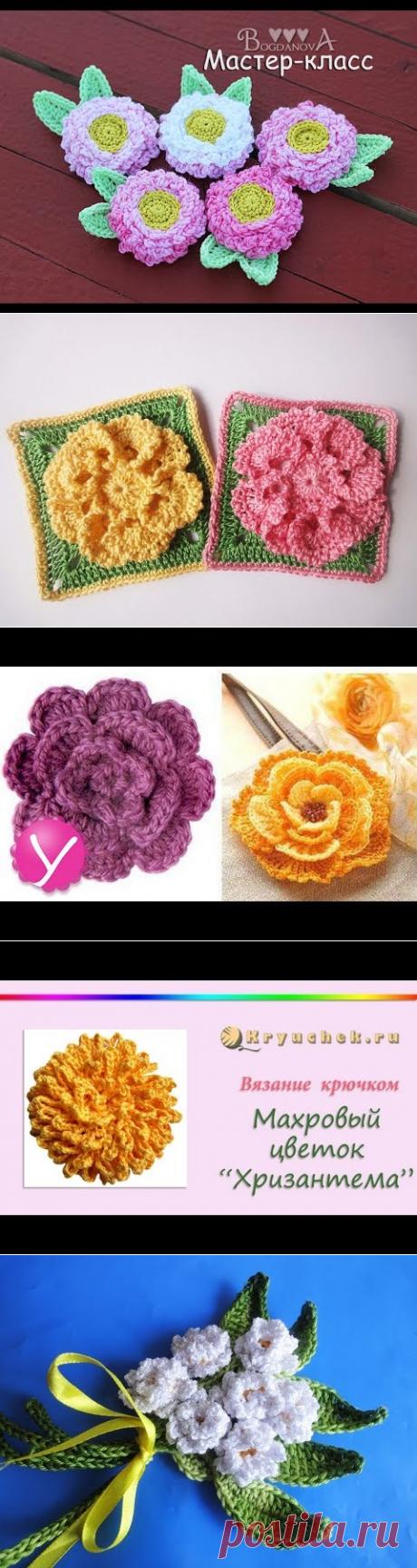 Мастер-класс по вязанию цветка-маргаритки крючком - YouTube