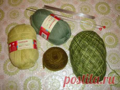 Комплект вязаный — двойная шапка-берет и бактус   Мир глазами мамы