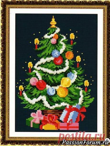 """Схема вышивки """"Новогодняя ёлка"""".   Схемы вышивки крестом, вышивка крестиком Зимняя пора. 2 3 4"""
