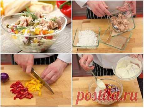 Салат с тунцом и рисом  Потрясающе вкусным и сочным салат получается из консервированного тунца, вареного риса и сладкого свежего перца. Рецепт не требует много времени на подготовку и приготовление. Такой салатик отлично подойдет к рыбе и овощным вторым блюдам.