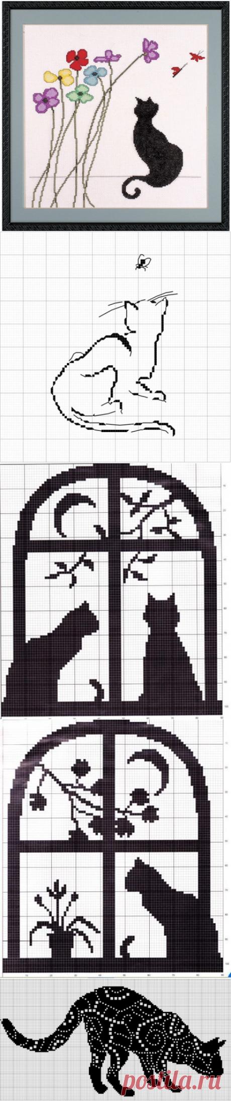 Вышивка.Кошки.Монохром.