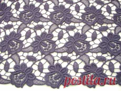 Ажурное серо-лавандовое макраме - купить ткань онлайн через интернет-магазин ВСЕ ТКАНИ