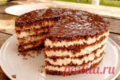 Торт из сухарей без выпечки рецепт с фото - 1000.menu