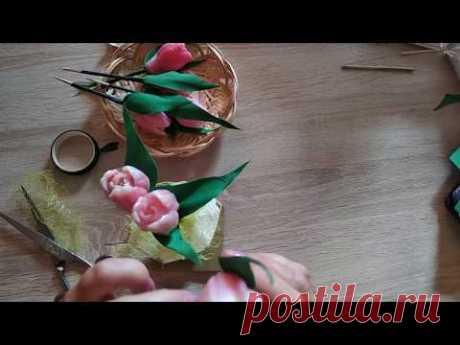 Мыловарение. Букет тюльпанов в чашке.