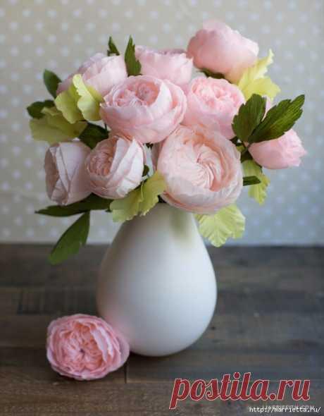 Английская роза из гофрированной бумаги.