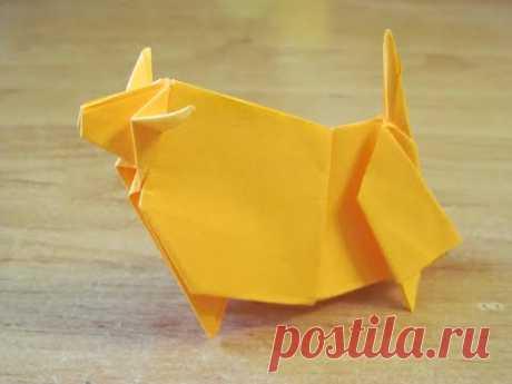Как сделать БЫКА КОРОВУ ИЗ БУМАГИ Бумажный Бык ОРИГАМИ How to make a PAPER Bull Cow ORIGAMI