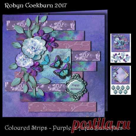 Coloured Strips - Purple & Aqua Butterflies