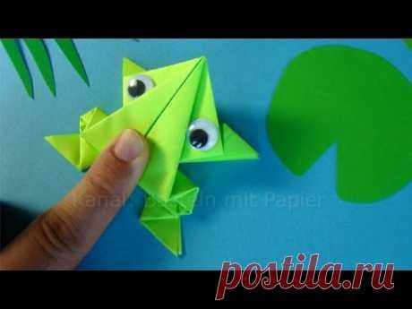 Прыгающая лягушка оригами. 🐸 Как сделать лягушку из бумаги? ПОДЕЛКИ ДЛЯ ДЕТЕЙ