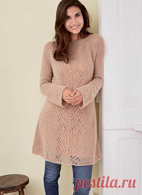 Вязаное платье-туника спицами: описание, схема ажура, 7 моделей