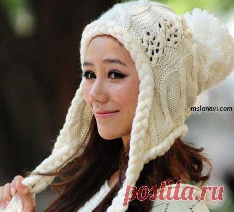Модная зимняя шапка с завязочками | Вяжем с Ланой