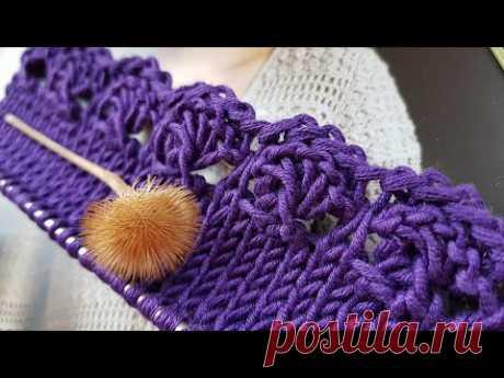 Креативная обвязка края на спицах 🤗 knitting pattern.