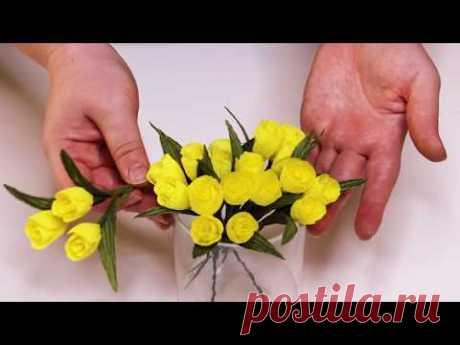 Мелкоцвет из гофрированной бумаги / DIY Flowers made of corrugated paper - YouTube  В видео покажу как сделать мелкие цветы для композиции из гофрированной бумаги, такими цветами можно украсить любой букет.
