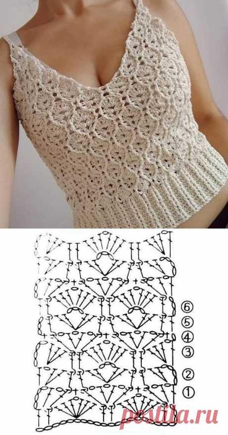 10 modelos de blusa de crochê com gráfico do ponto ⋆ De Frente Para O Mar