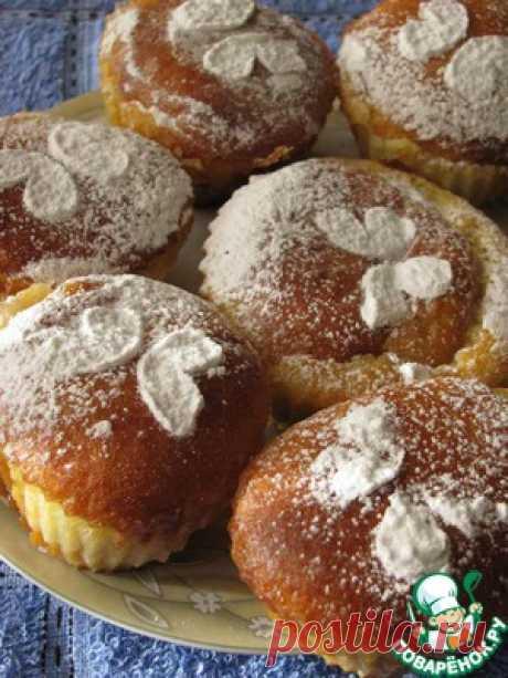 Творожные кексы с заварным кремом и джемом - кулинарный рецепт