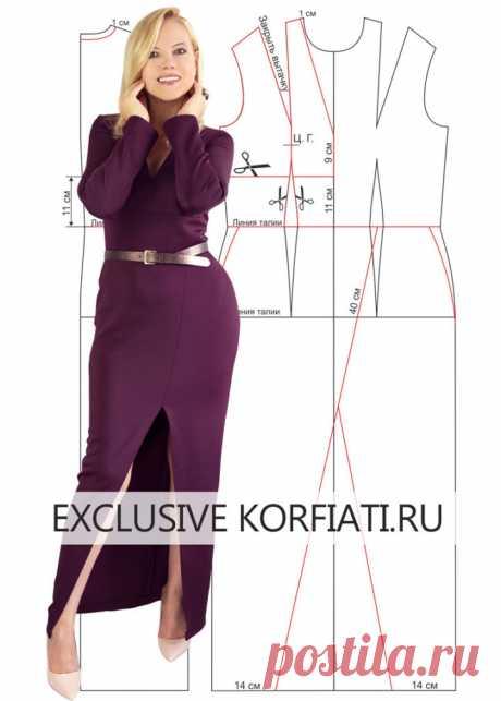 Выкройка платья с высоким разрезом от Анастасии Корфиати