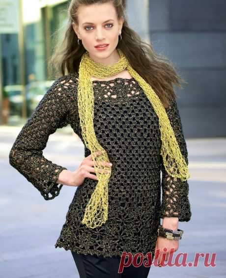 Openwork tunic with flower motives - the scheme of knitting by a hook. We knit Tunics on Verena.ru