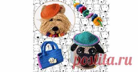 Подробное описание вязания крючком породистых собак, мопса и йоркширского терьера. Они украшены цветочными гирляндами. Для игрушек предлагаются две шляпы, очки и сумка.