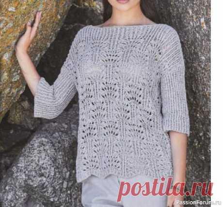 Пуловер с укороченными рукавами. Описание | Вязание для женщин спицами. Схемы вязания спицами