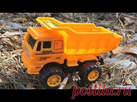 Toy Cars For Kids - Dump Truck Construction Vehicles. Toys in the forest for Children - YouTube