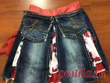 Легко и просто шьем юбку для ребенка из старых джинсов.