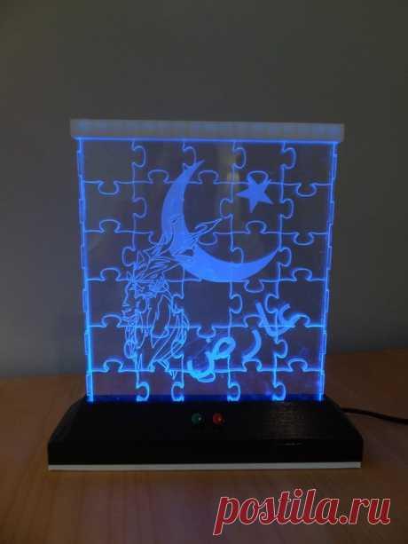 Светильник «светодиодный пазл» (Лазерная резка акрила)