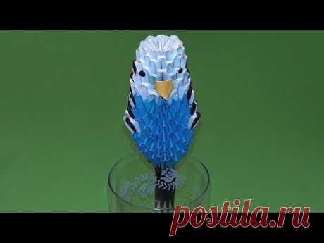 MODULAR el ORIGAMI el papagayo ondulado el esquema del montaje