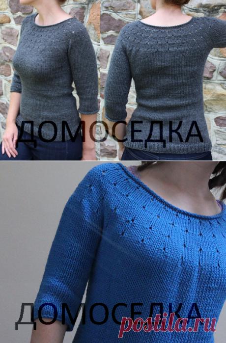 Простой пуловер спицами | ДОМОСЕДКА