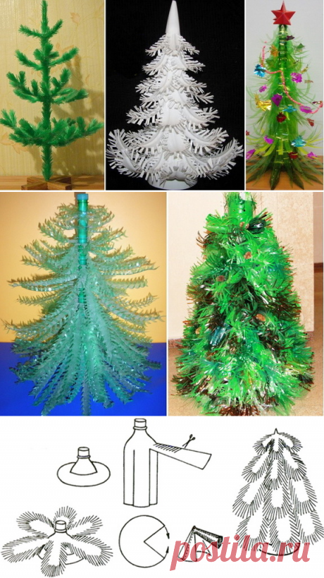 New Year tree from plastic bottles the hands