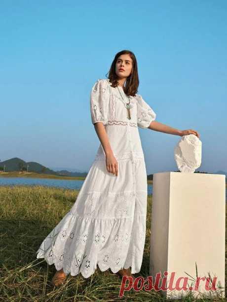 Однобортное платье с кружевной отделкой и оборкой | SHEIN Россия