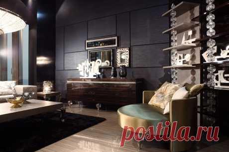 Темный интерьер гостиной в стиле Арт-Деко. Стильно, модно, современно, именно так выглядит квартира