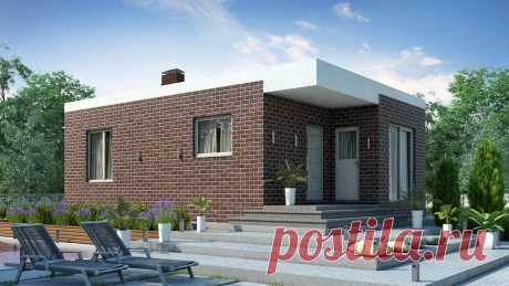 Дом 6 на 9 метров одноэтажный, 50 кв. м. с двумя спальнями, столовой, крыльцом, террасой и плоской крышей. Проект БЭНПАН БП-54/1.