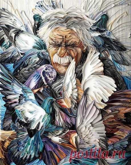 Художница Юлия Бродская. Картина из бумаги