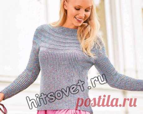 Летний пуловер с круглой кокеткой из сквозных дорожек - Хитсовет