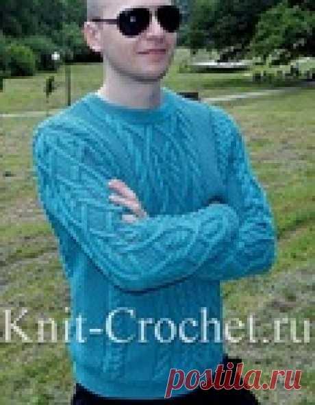 Пуловер мужской на спицах.