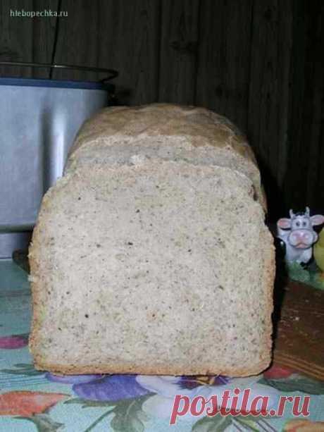 Льняной  хлеб Вес - 750 г, режим - основной, корочка - средняя. Один раз добавляла в замес 1 ст. л. кефирной закваски - хлеб поднялся еще лучше, но получил кисловатый привкус. ПримечаниеРецепт опробован уже несколько раз. Хлеб хорошо поднимается, мякиш с вкраплениями перемолотого льна (как с отрубями), вкус необы