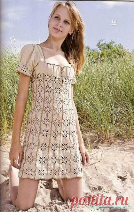 Летнее платье, связанное крючком - Красивое вязание Описание вязания платья крючком Картинка увеличивается при нажатии