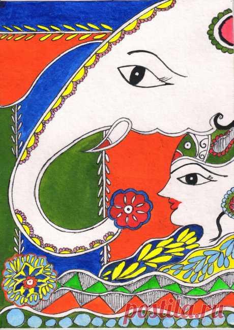 Madhubani painting on handmade paper | Etsy