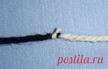 """Способ крепкого незаметного соединения ниток """"Промышленый узелок""""."""