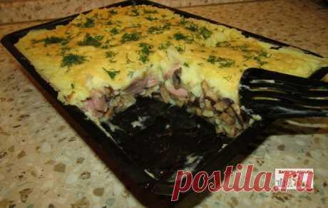 Картофельная запеканка с сосисками и грибами — Кулинарная книга - рецепты с фото