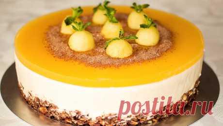 Яблочный торт без выпечки с нежным кремом и хрустящей основой — Вкусно!