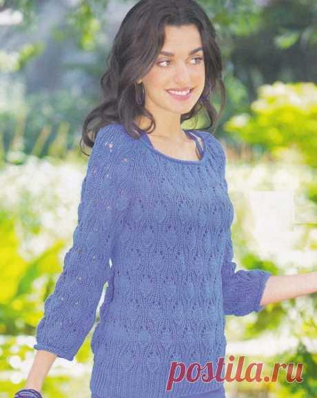 Синий ажурный пуловер с рукавами реглан | Ажурные Узоры