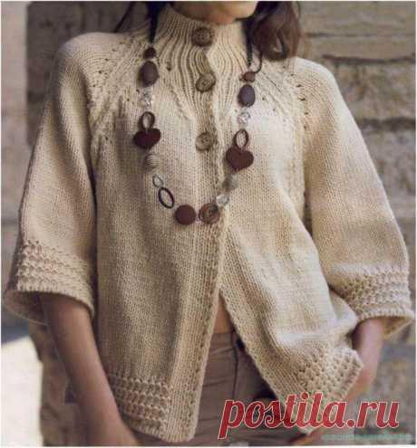 Красивое вязание | Бежевый жакет спицами.