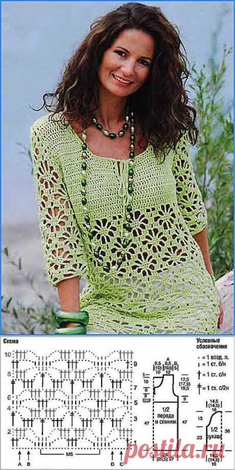 """Вязание и вышивка, рукоделие - Волшебные палочки - Статьи: Ажурный пуловер """"Летняя свежесть"""""""