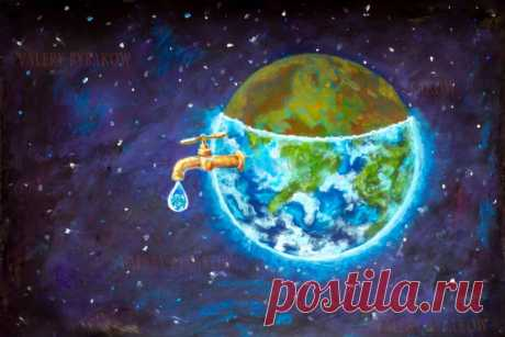 Water crisis, water shortage problem, drought, save water - the concept of original hand painted fine art painting on canvas. Planet earth in space Natural resources illustration artwork for poster   Галерея картин.