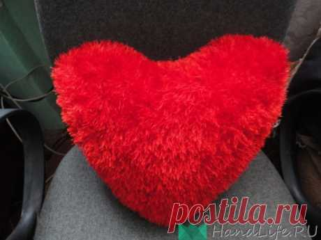День Св. Валентина (видео), вязаное сердечко, спицы. Подушка. / Мое творчество - вязание